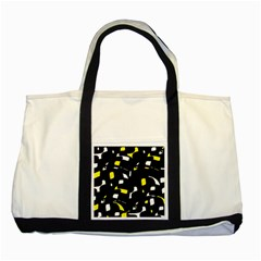 Yellow, black and white pattern Two Tone Tote Bag