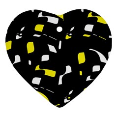 Yellow, black and white pattern Heart Ornament (2 Sides)