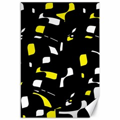 Yellow, black and white pattern Canvas 12  x 18