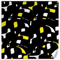 Yellow, black and white pattern Canvas 16  x 16
