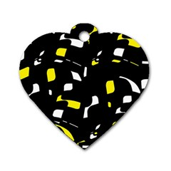 Yellow, black and white pattern Dog Tag Heart (One Side)