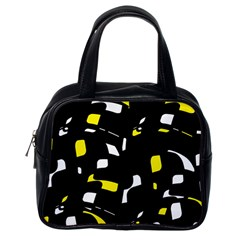 Yellow, black and white pattern Classic Handbags (One Side)