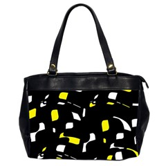 Yellow, black and white pattern Office Handbags (2 Sides)