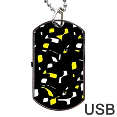 Yellow, black and white pattern Dog Tag USB Flash (Two Sides)