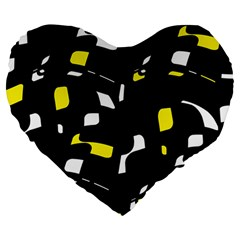 Yellow, black and white pattern Large 19  Premium Heart Shape Cushions
