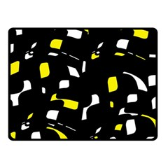 Yellow, black and white pattern Double Sided Fleece Blanket (Small)