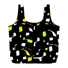 Yellow, black and white pattern Full Print Recycle Bags (L)