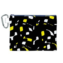 Yellow, black and white pattern Canvas Cosmetic Bag (XL)