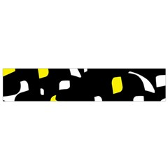 Yellow, black and white pattern Flano Scarf (Small)