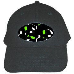 Green, black and white pattern Black Cap