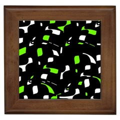 Green, black and white pattern Framed Tiles