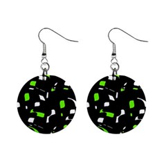 Green, black and white pattern Mini Button Earrings