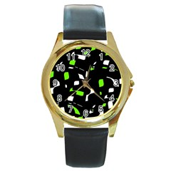 Green, black and white pattern Round Gold Metal Watch