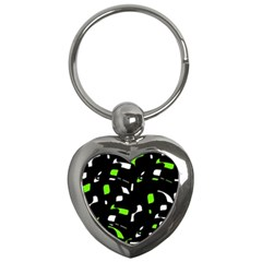 Green, black and white pattern Key Chains (Heart)