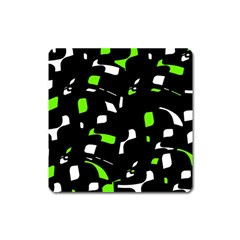 Green, black and white pattern Square Magnet