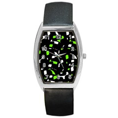 Green, black and white pattern Barrel Style Metal Watch