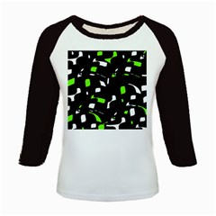 Green, black and white pattern Kids Baseball Jerseys
