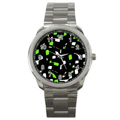 Green, black and white pattern Sport Metal Watch