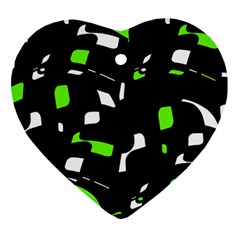 Green, black and white pattern Heart Ornament (2 Sides)