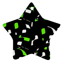 Green, black and white pattern Star Ornament (Two Sides)