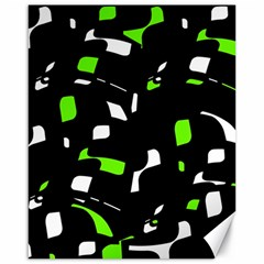 Green, black and white pattern Canvas 16  x 20