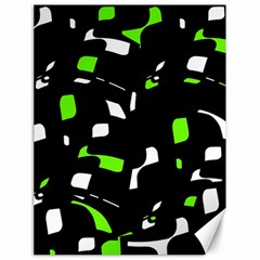 Green, black and white pattern Canvas 18  x 24