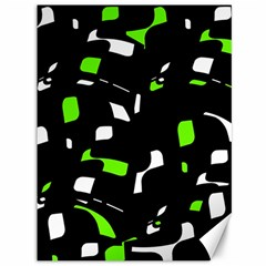 Green, black and white pattern Canvas 36  x 48
