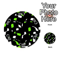 Green, black and white pattern Playing Cards 54 (Round)