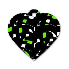 Green, black and white pattern Dog Tag Heart (Two Sides)