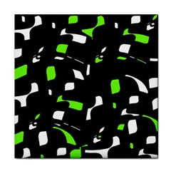 Green, black and white pattern Face Towel