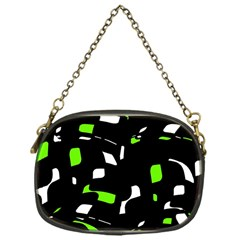 Green, black and white pattern Chain Purses (One Side)
