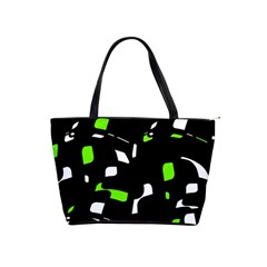 Green, black and white pattern Shoulder Handbags