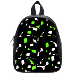 Green, black and white pattern School Bags (Small)