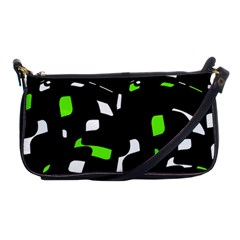 Green, black and white pattern Shoulder Clutch Bags