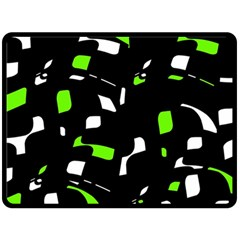 Green, black and white pattern Fleece Blanket (Large)