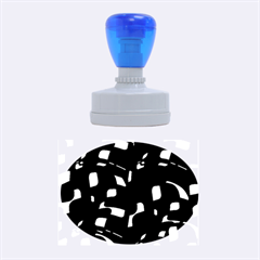 Green, black and white pattern Rubber Oval Stamps