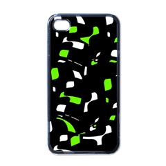 Green, black and white pattern Apple iPhone 4 Case (Black)