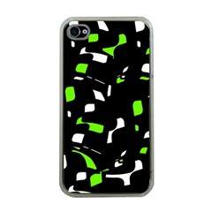 Green, black and white pattern Apple iPhone 4 Case (Clear)
