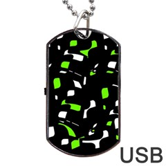 Green, black and white pattern Dog Tag USB Flash (Two Sides)