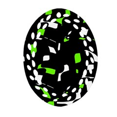 Green, black and white pattern Oval Filigree Ornament (2-Side)