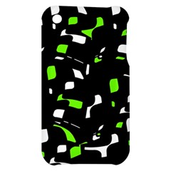 Green, black and white pattern Apple iPhone 3G/3GS Hardshell Case