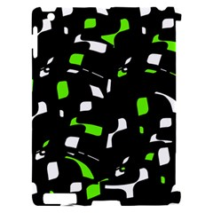 Green, black and white pattern Apple iPad 2 Hardshell Case (Compatible with Smart Cover)