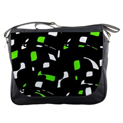 Green, black and white pattern Messenger Bags