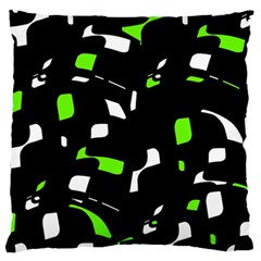 Green, black and white pattern Large Cushion Case (One Side)