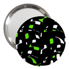 Green, black and white pattern 3  Handbag Mirrors