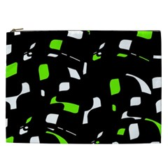 Green, black and white pattern Cosmetic Bag (XXL)
