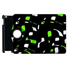 Green, black and white pattern Apple iPad 2 Flip 360 Case