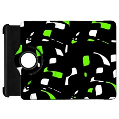 Green, black and white pattern Kindle Fire HD Flip 360 Case