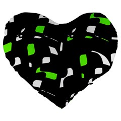 Green, black and white pattern Large 19  Premium Heart Shape Cushions