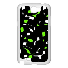 Green, black and white pattern Samsung Galaxy Note 2 Case (White)